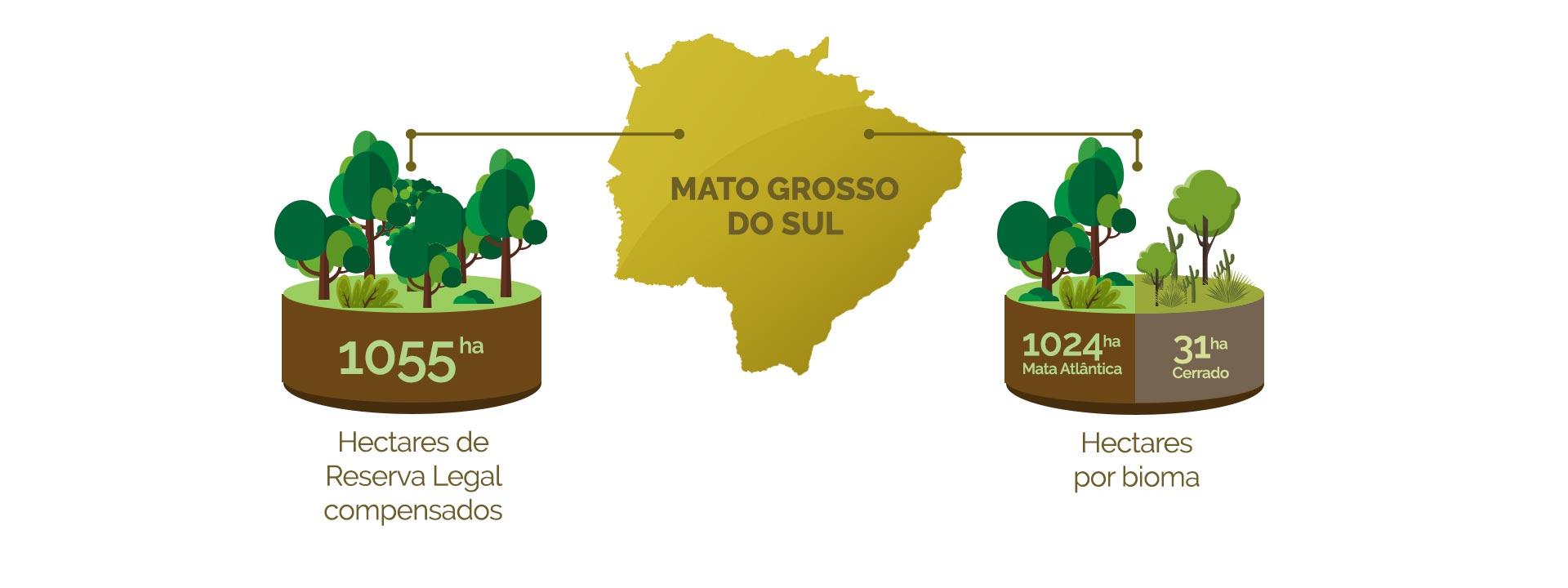 Mato Grosso do Sul - Hectares de Reserva legal compensados x Hectares por bioma